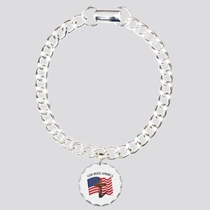 God Bless American With Charm Bracelet, One Charm