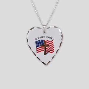 God Bless American With US Fl Necklace Heart Charm