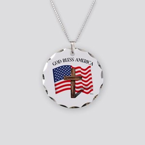 God Bless American With US F Necklace Circle Charm