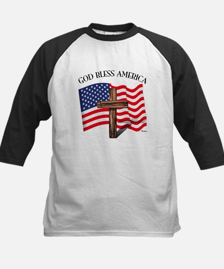 God Bless American With US Fl Kids Baseball Jersey
