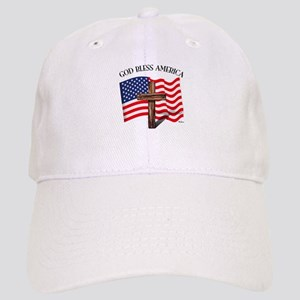God Bless American With US Flag and Rugged Cro Cap