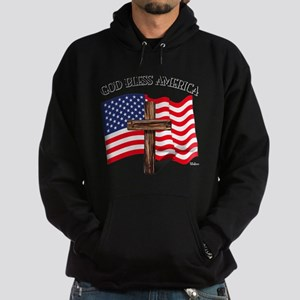 God Bless American With US Flag and Hoodie (dark)