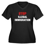 Stop Illegal Immigration Women's Plus Size V-Neck