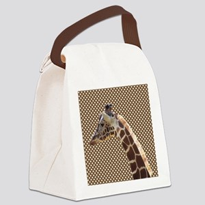 Giraffe on Brown and White Polka Dots Canvas Lunch