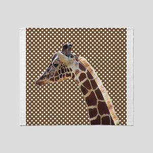Giraffe on Brown and White Polka Dots Throw Blanke