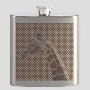 Giraffe on Brown and White Polka Dots Flask