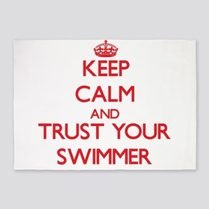 Keep Calm and trust your Swimmer 5'x7'Area Rug