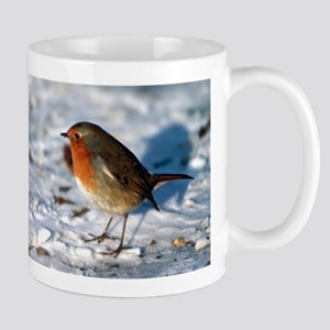 Robin in the Snow Mugs
