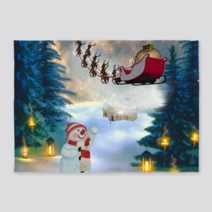 Christmas, snowman with santa claus and reindeer 5