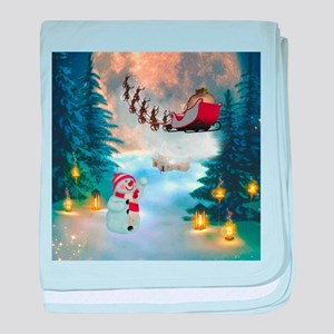 Christmas, snowman with santa claus and reindeer b