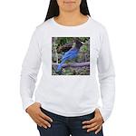 Steller's Jay on Branch Women's Long Sleeve T-Shir