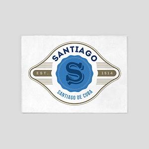 Santiago de Cuba Retro Badge 5'x7'Area Rug