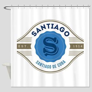 Santiago de Cuba Retro Badge Shower Curtain