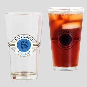Santiago de Cuba Retro Badge Drinking Glass