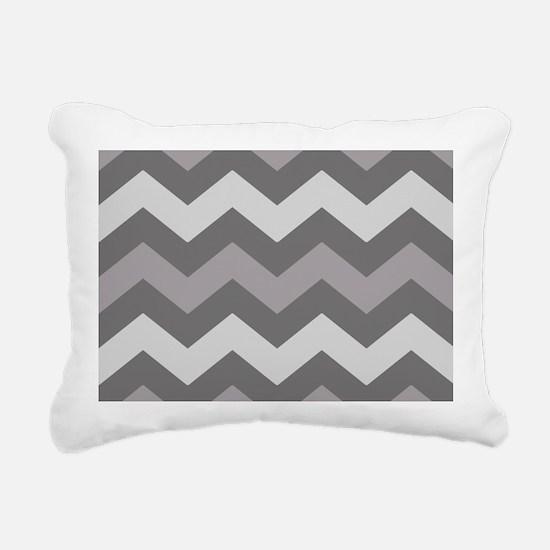 Dark Grey Chevron Rectangular Canvas Pillow