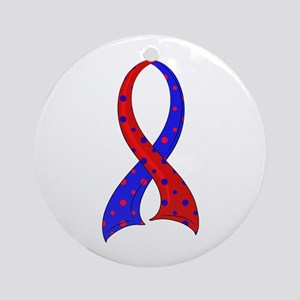 CHD Polka Dot Ribbon Ornament (Round)
