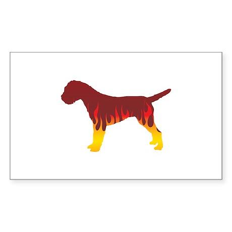Terrier Flames Rectangle Sticker