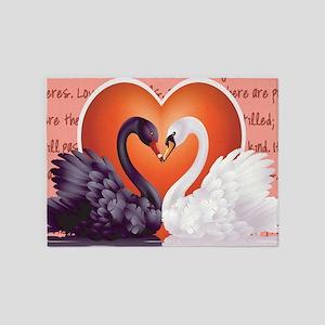 LOVE SWANS 5'x7'Area Rug