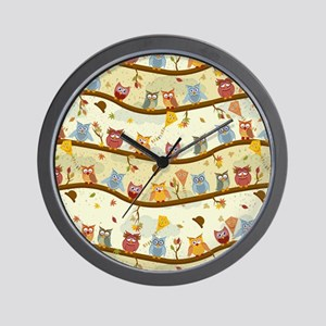 Autumn Owls Wall Clock