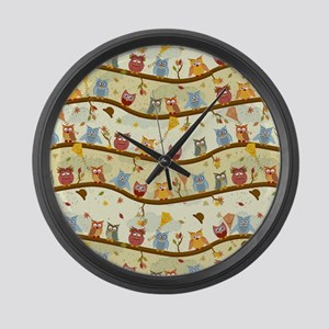 Autumn Owls Large Wall Clock