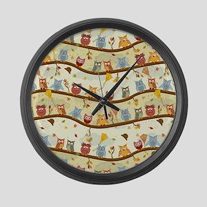 Autumn Owls Large Wall Clock