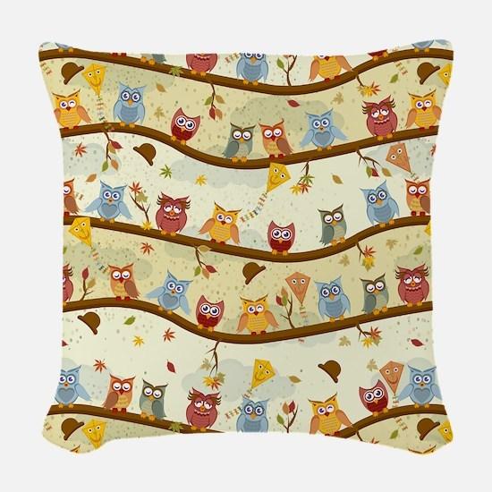 Autumn Owls Woven Throw Pillow