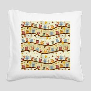 Autumn Owls Square Canvas Pillow