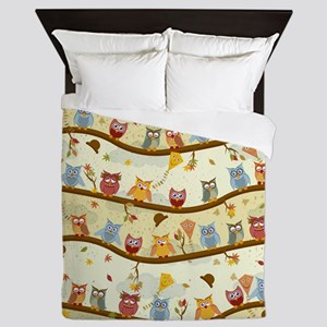 Autumn Owls Queen Duvet