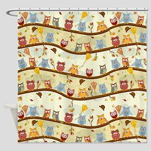 Autumn Owls Shower Curtain