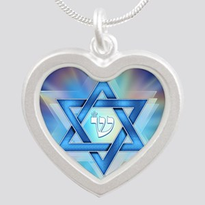 Radiant Magen David Silver Heart Necklace