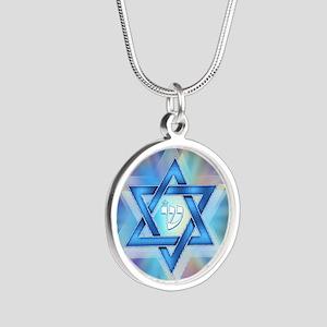 Radiant Magen David Silver Round Necklace