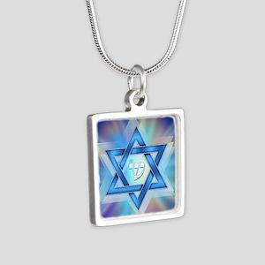 Radiant Magen David Silver Square Necklace