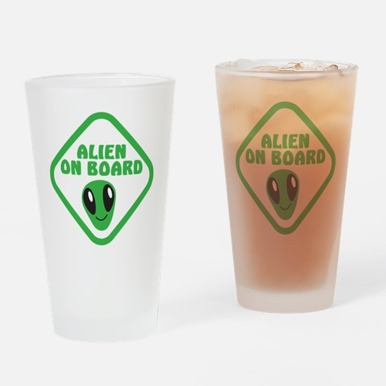 Alien on Board with green man Drinking Glass