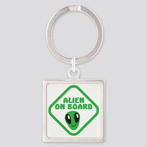 Alien on Board with green man Square Keychain