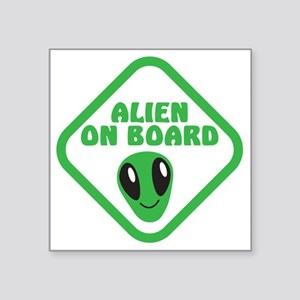 "Alien on Board with green m Square Sticker 3"" x 3"""