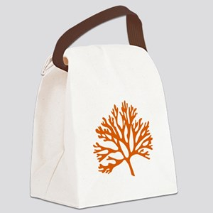 red coral silhouette Canvas Lunch Bag