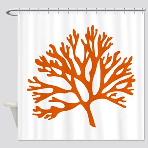 red coral silhouette Shower Curtain