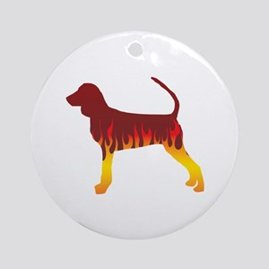 Black and Tan Flames Ornament (Round)