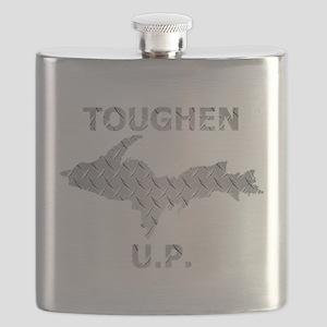 Toughen U.P. In Chrome Diamond Plate Flask