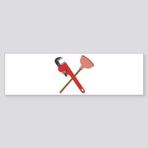 Pipe Wrench Toilet Plunger Bumper Sticker