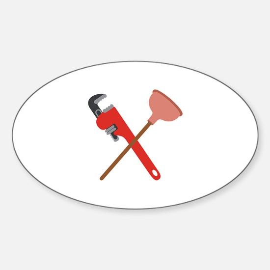Pipe Wrench Toilet Plunger Decal