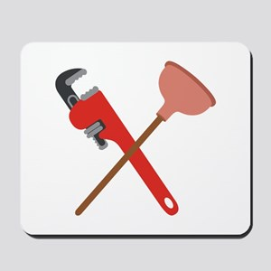 Pipe Wrench Toilet Plunger Mousepad