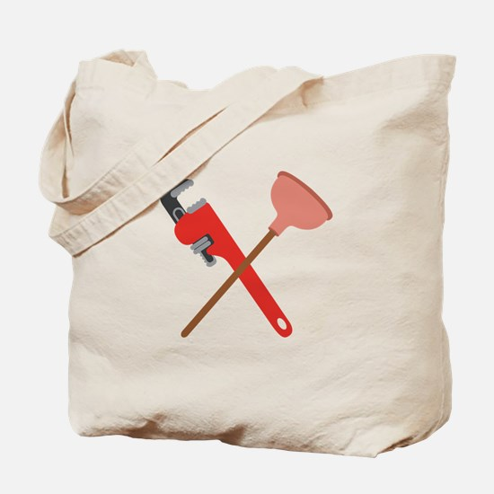 Pipe Wrench Toilet Plunger Tote Bag