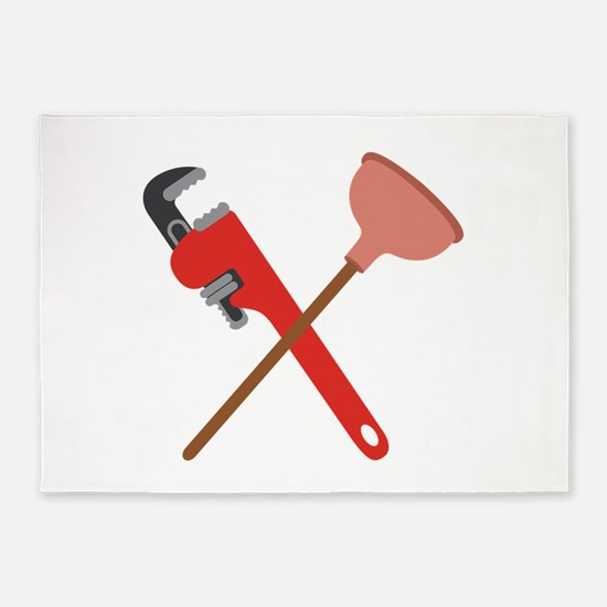 Pipe Wrench Toilet Plunger 5'x7'Area Rug