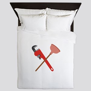 Pipe Wrench Toilet Plunger Queen Duvet