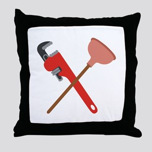 Pipe Wrench Toilet Plunger Throw Pillow