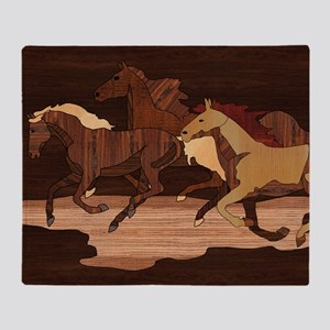 Wooden Horses Throw Blanket