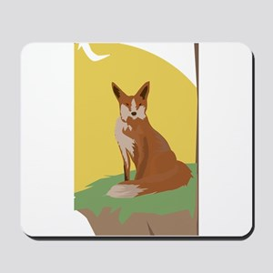 The Lonely Fox Sitting Viewing the Moon Mousepad