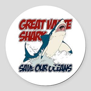 Great White Shark Round Car Magnet