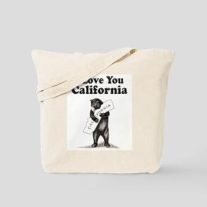 Vintage I Love You California State Bear Tote Bag